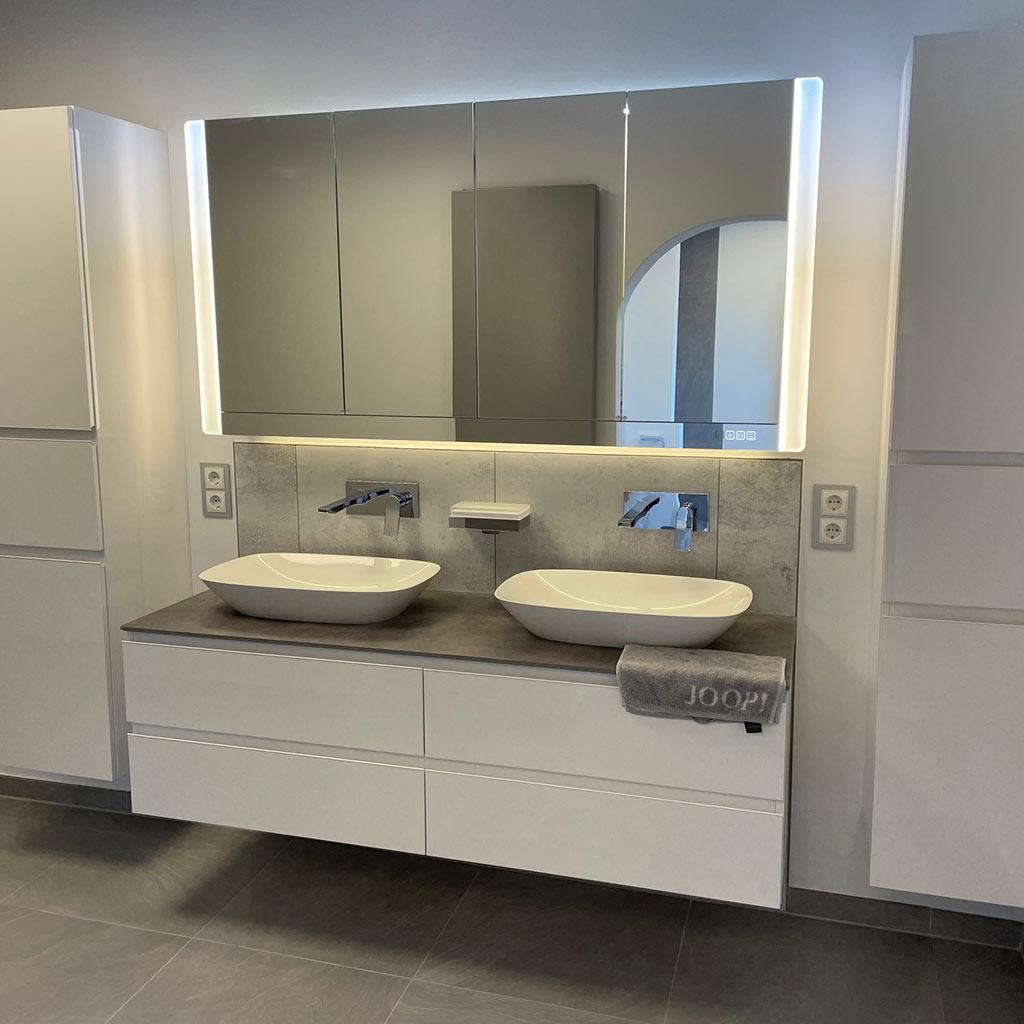 Modernes badezimmer waschtisch mit zwei waschbecken redemann bonn